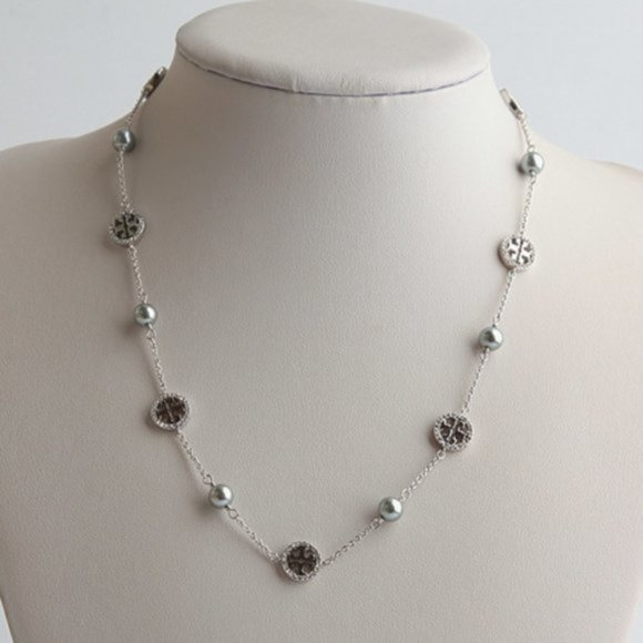 Tory Burch Pearls And Logo Charms Necklace